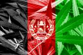 Afghanistan Flag on cannabis background. Drug policy. Legalization of marijuana — Stock Photo