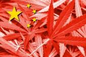 China Flag on cannabis background. Drug policy. Legalization of marijuana — Stock Photo