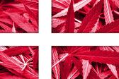 Denmark Flag on cannabis background. Drug policy. Legalization of marijuana — Stock Photo