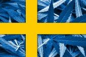 Sweden Flag on cannabis background. Drug policy. Legalization of marijuana — Fotografia Stock