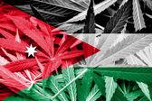 Jordan Flag on cannabis background. Drug policy. Legalization of marijuana — Stock Photo
