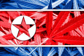 North Korea Flag on cannabis background. Drug policy. Legalization of marijuana — Stockfoto