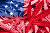 Samoa Flag on cannabis background. Drug policy. Legalization of marijuana — Stock Photo