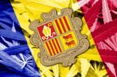Andorra Flag on cannabis background. Drug policy. Legalization of marijuana — Stock Photo