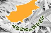 Cyprus Flag on cannabis background. Drug policy. Legalization of marijuana — Стоковое фото