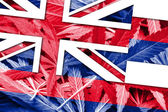 Hawaii Stae Flag on cannabis background. Drug policy. Legalization of marijuana — Stock Photo