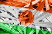 Niger Flag on cannabis background. Drug policy. Legalization of marijuana — Stock Photo