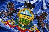 Pennsylvania State Flag on cannabis background. Drug policy. Legalization of marijuana — Stock Photo