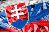 Slovakia Flag on cannabis background. Drug policy. Legalization of marijuana — Stock Photo