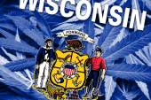 Wisconsin State Flag on cannabis background. Drug policy. Legalization of marijuana — Stockfoto