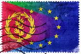 European Union and Eritrea Flag - old postage stamp — Stock Photo