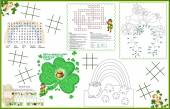 Placemat  St. Patrick's Day Printable Activity Sheet 2 — Stock Vector