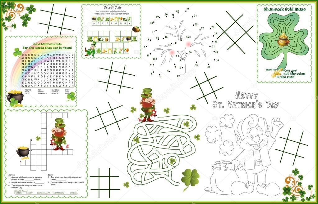 placemat st patricks day printable activity sheet 1 stock vector candywrap 66886275