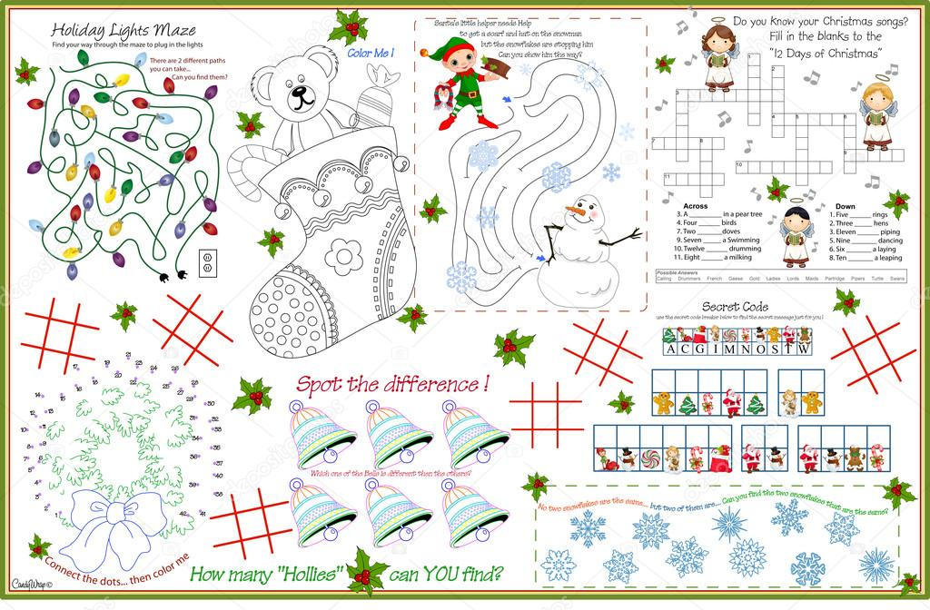 Placemat christmas printable activity sheet 7 — Stock Vector ...