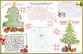 Placemat Christmas Printable Activity Sheet 4 — Stock Vector