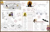 Placemat Halloween Printable Activity Sheet 9 — Stock Vector