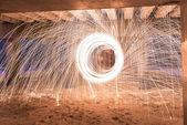 Burning Steel Wool  — Stock Photo