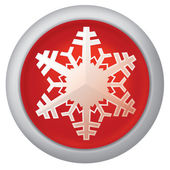 Realistic vector illustration of red snowflake button icon — Stock Vector