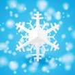 Vector white paper christmas snowflake on a light blue background — Stock Vector #60323759