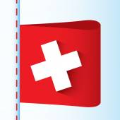 Illustration of red textile label with white cross ( first aid or swiss ) — Stock Vector