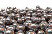 Metal soccer balls pile — Stock Photo