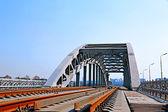 Railway bridge with steel spans — Stock Photo