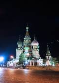 Cathedral of Basil Blessed and Moscow Kremlin at night — Stock Photo