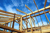 Installation of wooden beams — Stock Photo