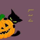 かぼちゃと猫 — ストックベクタ