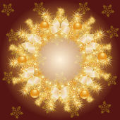 Gold Christmas wreath — Stock Vector