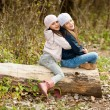 Two Beautiful girls wearing a beret sitting on log posing — Stock Photo #67988237