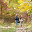 Two girls walking in the woods — Stock Photo #67988243