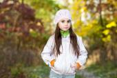 Lovely girl in a beret in the forest — Stock Photo