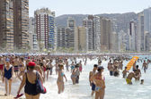 Tipical view of the beach in Benidorm, Alicante, Spain, holiday — Stock Photo