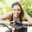 Closeup portrait of smiling beautiful athletic latin woman with — Stock Photo #57288513