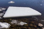 Broken ice floating on water — Stock Photo