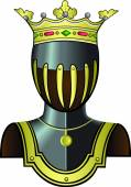 Medieval knight head in helmet. — Stock Vector