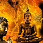 Buddha gold statue on golden background patterns Thailand. — Stock Photo #54645117