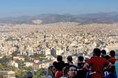 Tourists watching city panorama of Athens  — Stock Photo