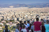 Tourists watching panorama of Athens in Greece — Stock Photo