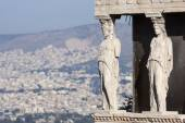 Close up of caryatids in Erechtheion of Erechtheum — Stock Photo