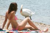 Woman and swan on lake shore — Stock Photo