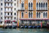 Gondolas in front of Hotel Bauer Palazzo — Stok fotoğraf