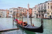 Gondola parked in water canal — Stock Photo