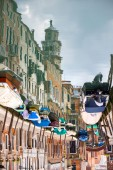Abstract of empty boats moored in water canal — Stock Photo