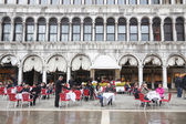 People in restaurant on San Marco square — Stock Photo