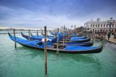 Gondolas in front of Riva degli Schiavoni — Stock Photo