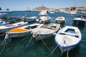 Moored boats with town of Rovinj in background — Stock Photo