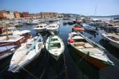 Anchored boats in Rovinj — Stock Photo