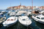 Båtar förtöjda i marinan i Rovinj — Stockfoto